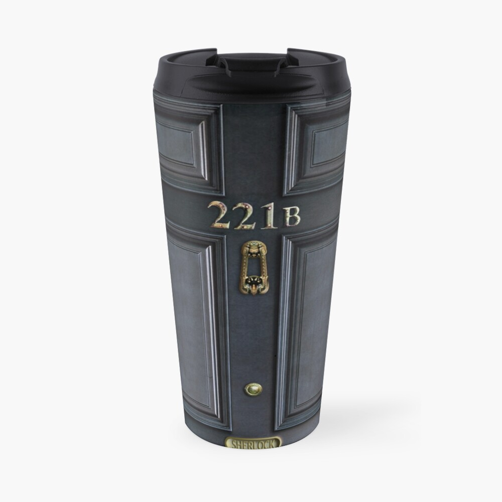 221b baker street black wood door Travel Mug