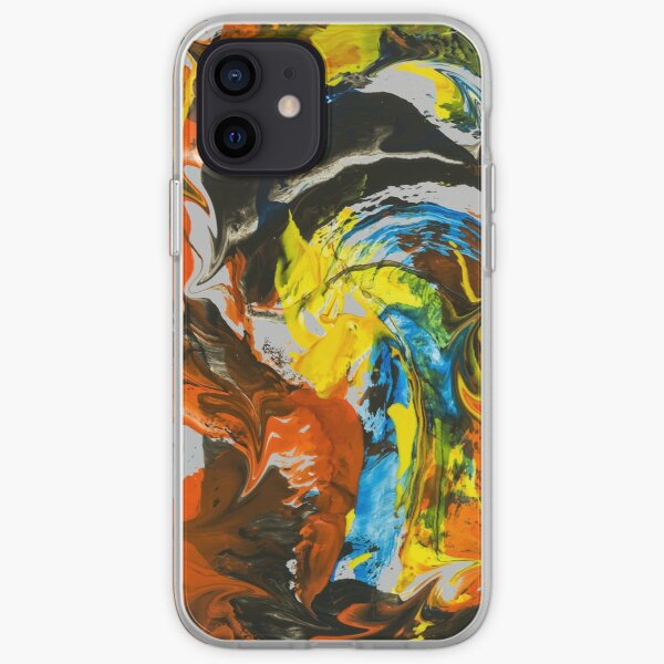 Abstract Red Yellow Blue Marble Painting iPhone Soft Case