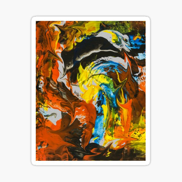 Abstract Red Yellow Blue Marble Painting Sticker