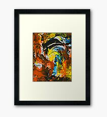 Abstract Red Yellow Blue Marble Painting Framed Print