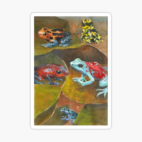 Cute and Colorful Poison Dart Frogs  Sticker