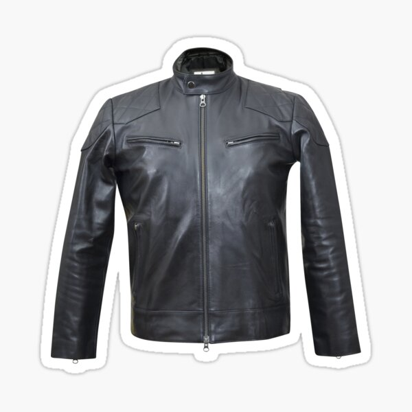 Quilted, Moto, Leather, Jacket, Front Sticker