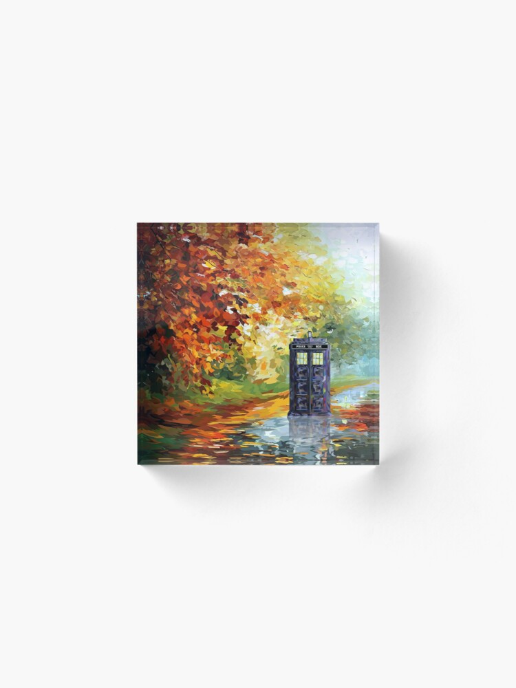 Alternate view of Blue Phone booth with autumn views Acrylic Block
