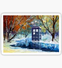 Blue Phone booth with winter views Sticker