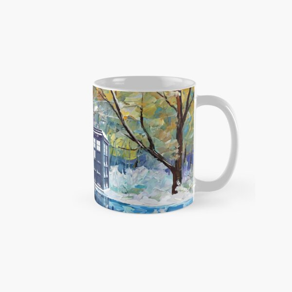 Blue Phone booth with winter views Classic Mug