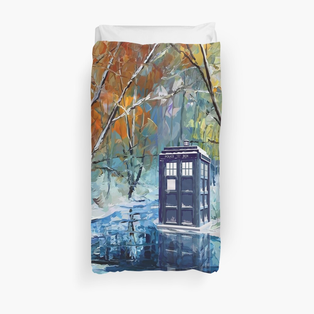 Blue Phone booth with winter views Duvet Cover
