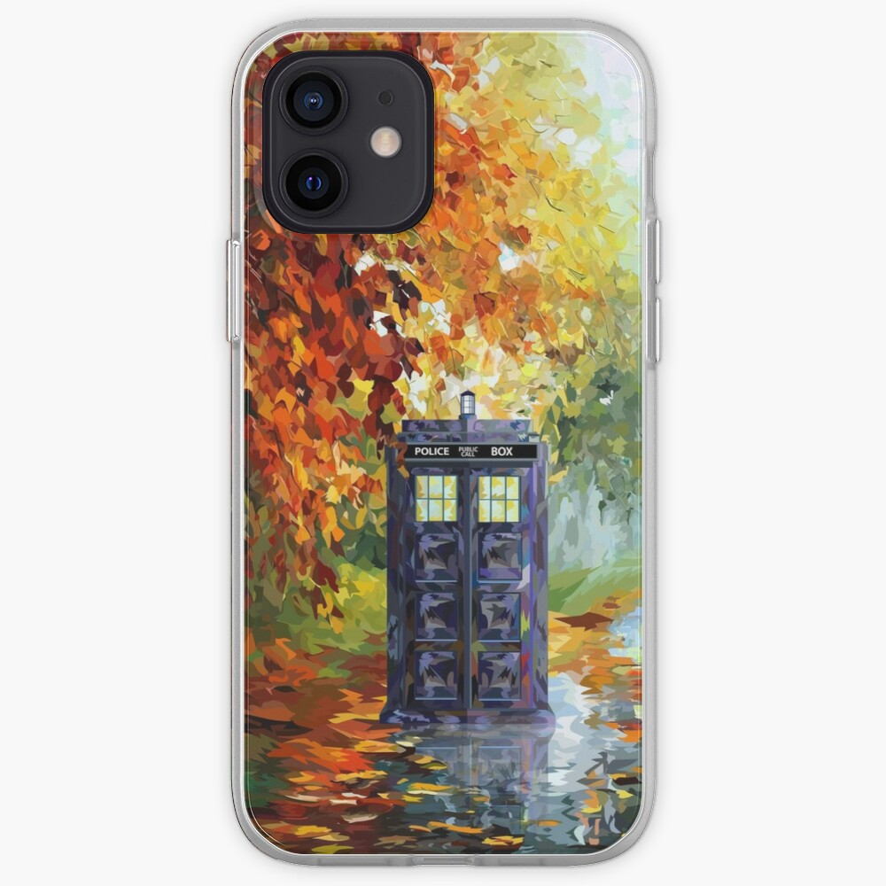 Blue Phone booth with autumn views iPhone Case & Cover