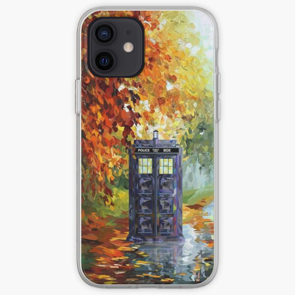 Blue Phone booth with autumn views iPhone Soft Case