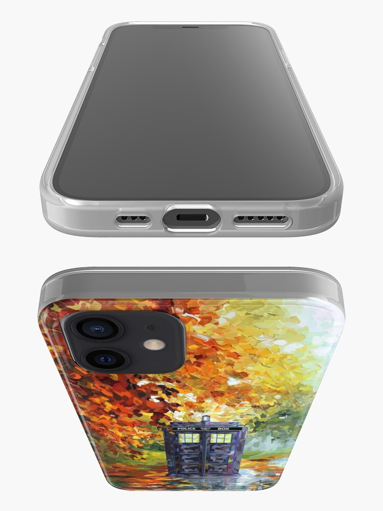 Alternate view of Blue Phone booth with autumn views iPhone Case & Cover