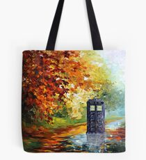 Blue Phone booth with autumn views Tote Bag