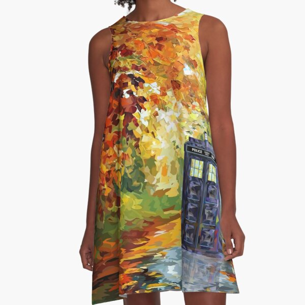 Blue Phone booth with autumn views A-Line Dress