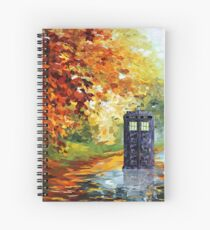 Blue Phone booth with autumn views Spiral Notebook