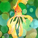Vermilion Goldfish Swimming In Green Sea of Bubbles by taiche
