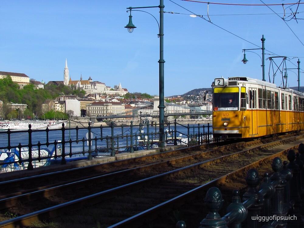 Yellow Tram & the Danube, Budapest by wiggyofipswich