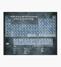 Tableau Periodiques Periodic Table Of The Elements Vintage Chart Blue Photographic Print