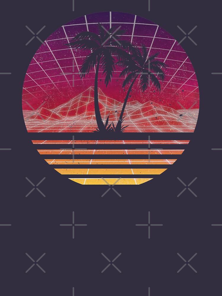 Modern Retro 80s Outrun Sunset Palm Tree Silhouette - Original by RetroRoy