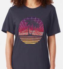 Modern Retro 80s Outrun Sunset Palm Tree Silhouette - Original Slim Fit T-Shirt