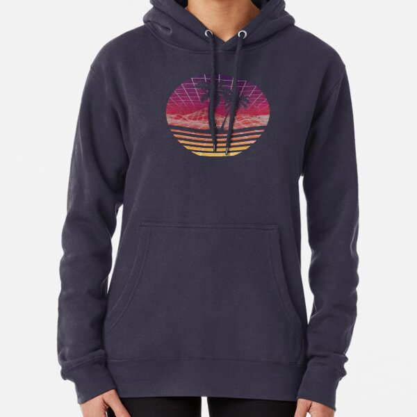 Modern Retro 80s Outrun Sunset Palm Tree Silhouette - Original Pullover Hoodie