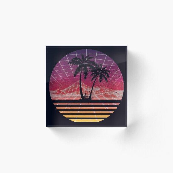 Modern Retro 80s Outrun Sunset Palm Tree Silhouette - Original Acrylic Block