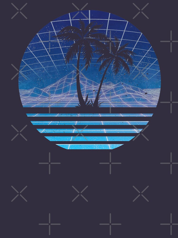 Modern Retro 80s Outrun Sunset Palm Tree Silhouette - Azul de RetroRoy