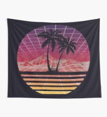Modern Retro 80s Outrun Sunset Palm Tree Silhouette Original Wall Tapestry