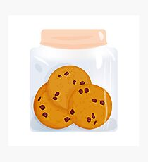 Chocolate chip cookie, homemade biscuit in glass jar Photographic Print