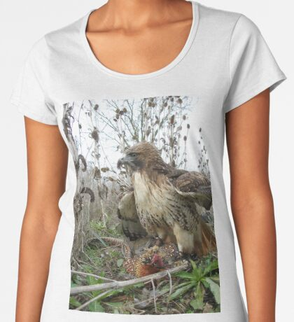 Red Tailed Hawk on a Pheasant Women's Premium T-Shirt