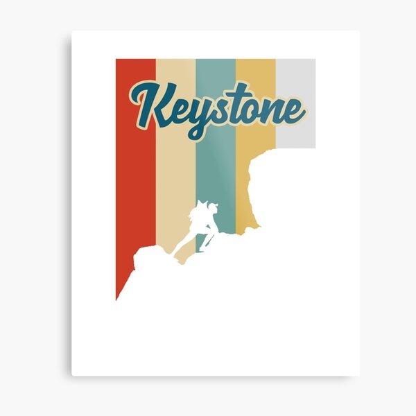 Retro Keystone Mountain Hiking T-Shirt Metal Print