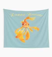 Happy Nowruz Persian New Year Goldfish Isolated Wall Tapestry