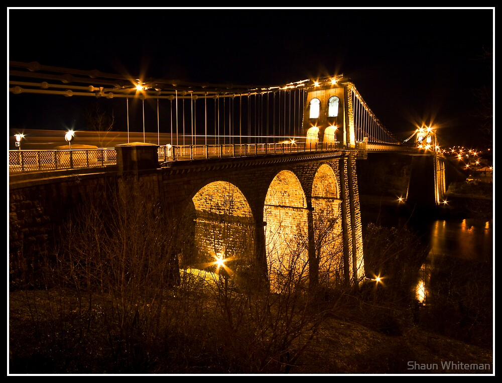 Menai bridge light trails by Shaun Whiteman