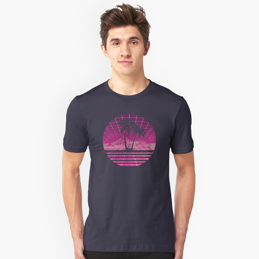 Modern Retro 80s Outrun Sunset Palm Tree Silhouette - Magenta Slim Fit T-Shirt