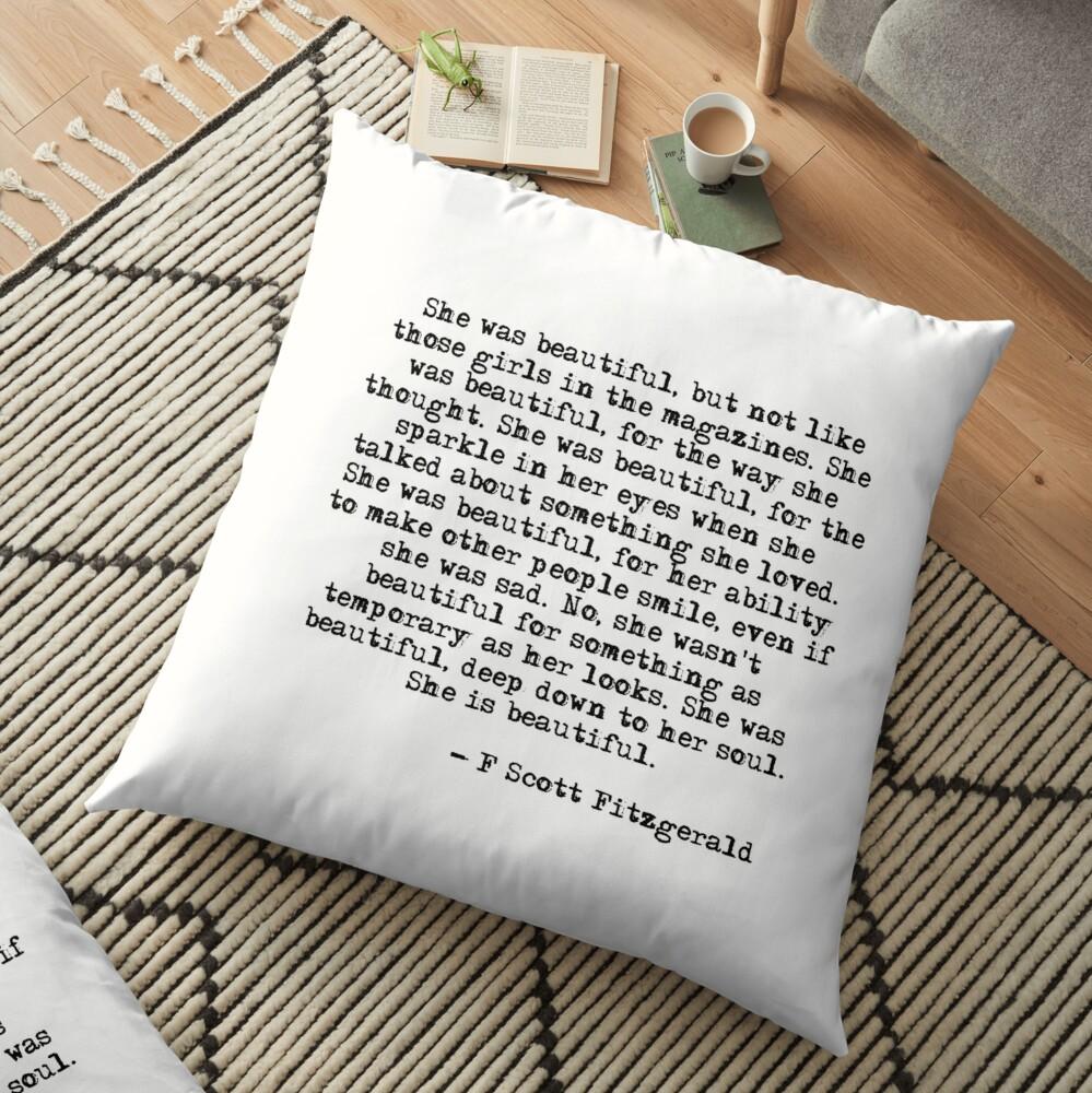 She was beautiful - F Scott Fitzgerald Floor Pillow
