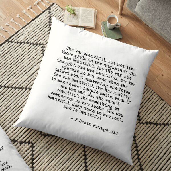 She was beautiful - F Scott Fitzgerald Floor Pillow