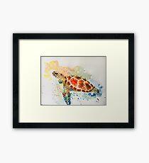 aqurelle tortue de mer coloré tendance Framed Print