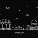 Jerusalem Skyline Minimal Line Art Poster by A Deniz Akerman