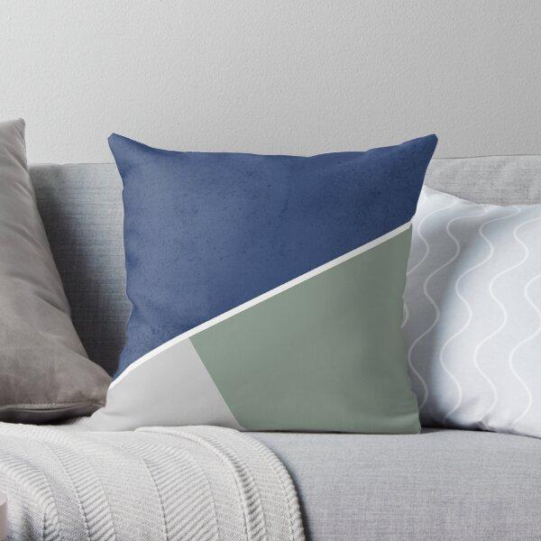 Navy sage gray white geometric pattern Throw Pillow