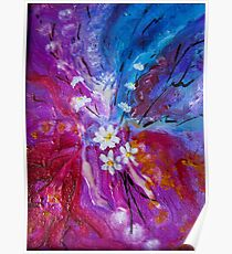 Exotic colorful flowers abstract composition Poster