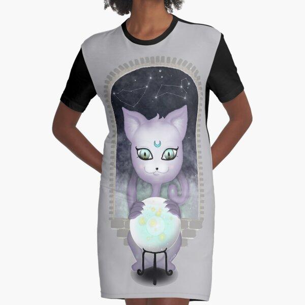 Mystic Miku | Crystal Ball & Zodiac | Light Grey Graphic T-Shirt Dress