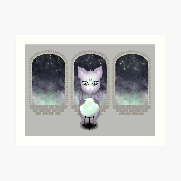 Mystic Miku | Crystal Ball & Zodiac | Light Grey Art Print