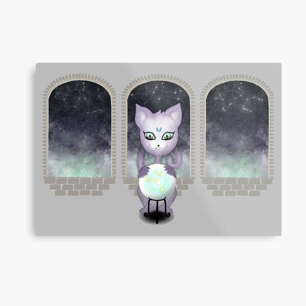 Mystic Miku   Crystal Ball & Zodiac   Light Grey Metal Print