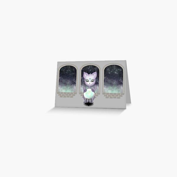 Mystic Miku | Crystal Ball & Zodiac | Light Grey Greeting Card