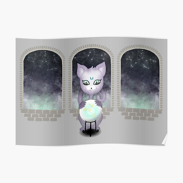 Mystic Miku   Crystal Ball & Zodiac   Light Grey Poster