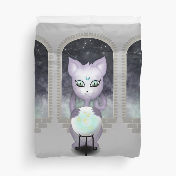 Mystic Miku | Crystal Ball & Zodiac | Light Grey Duvet Cover
