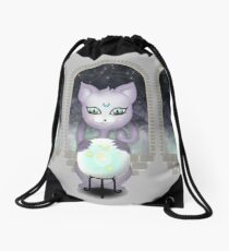 Mystic Miku | Crystal Ball & Zodiac | Light Grey Drawstring Bag
