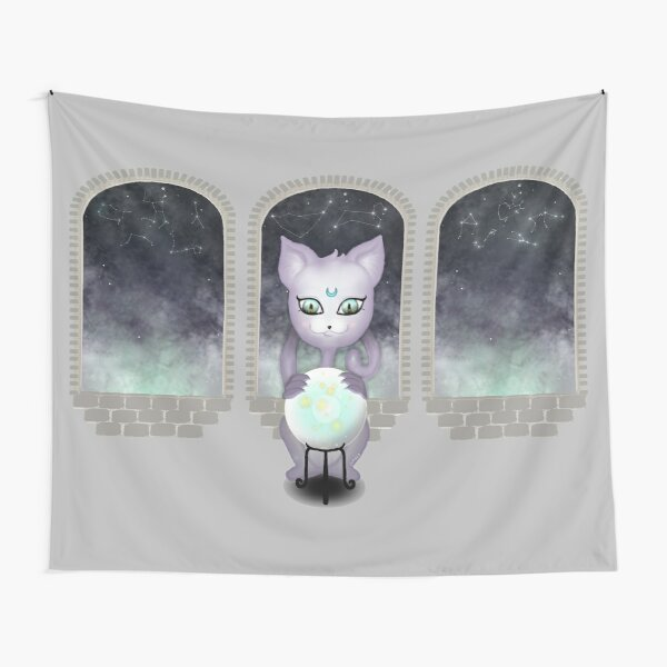 Mystic Miku | Crystal Ball & Zodiac | Light Grey Tapestry