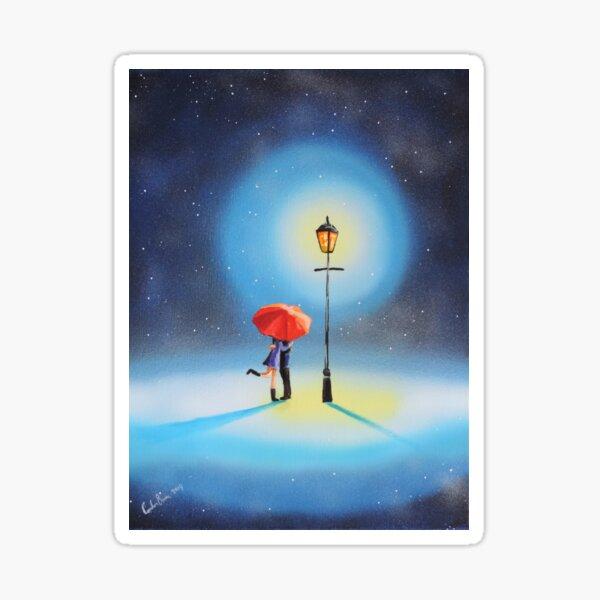 Romantic couple under a street lamp painting Sticker