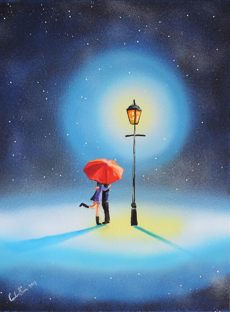 Romantic couple under a street lamp by GORDON BRUCE ART