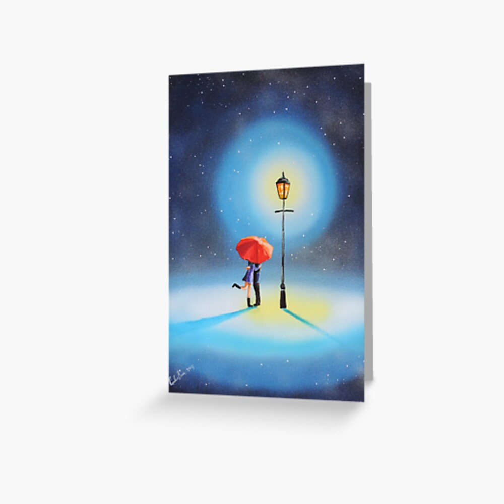 Romantic couple under a street lamp painting Greeting Card