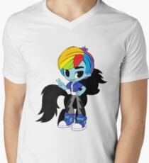 chibi boy brony rainbow dash Men's V-Neck T-Shirt