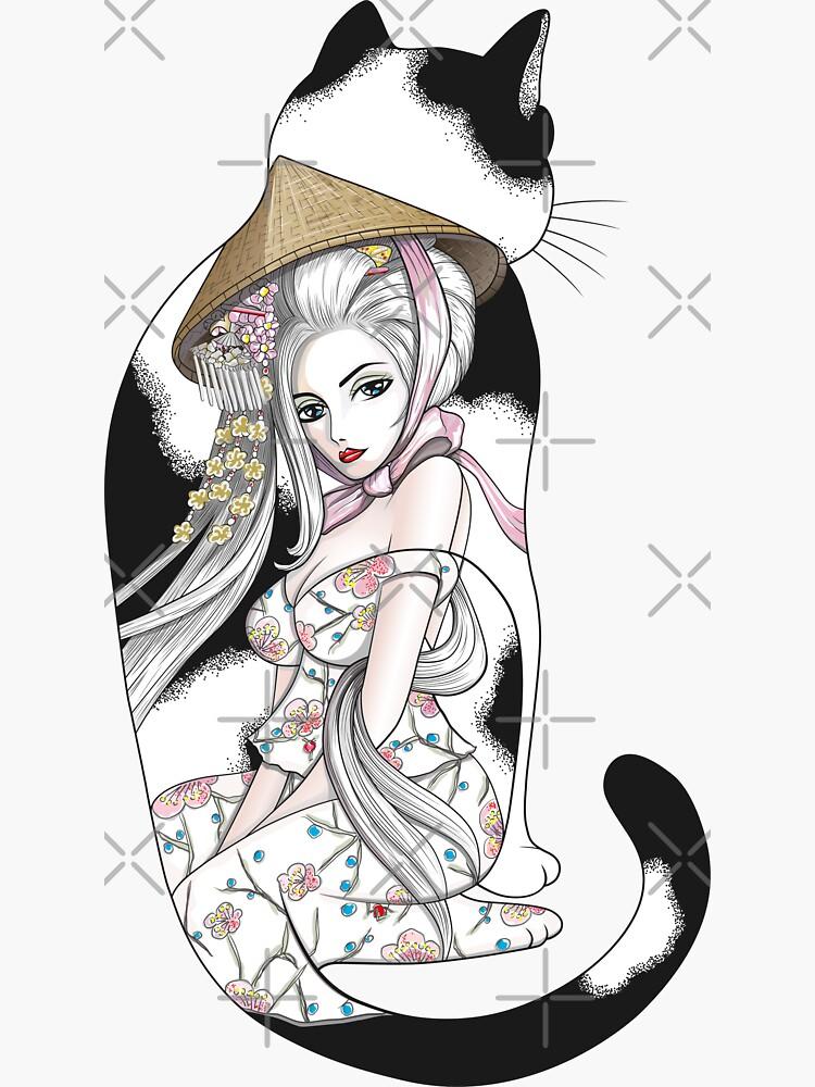 Geisha Cat Tattoo by runcatrun